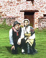 Couple wearing folk clothes